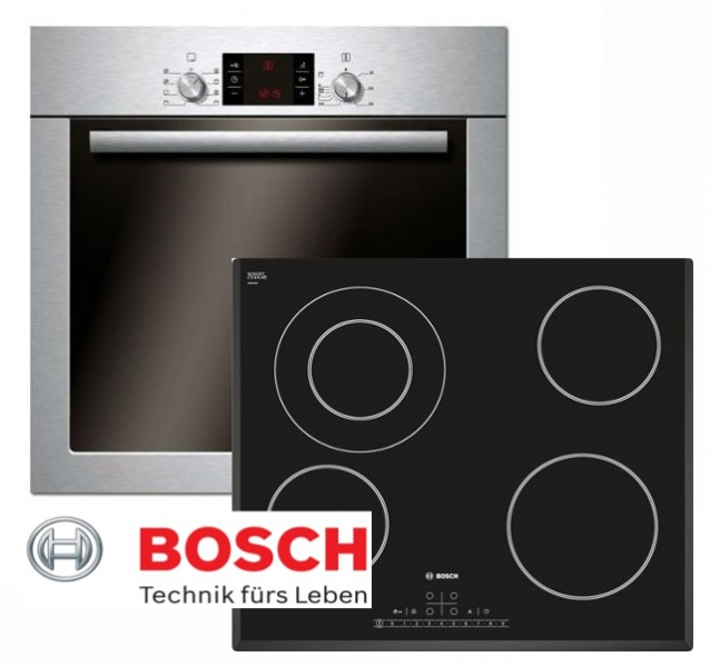 bosch herdset autark backofen umluft facette glaskeramik kochfeld 60cm. Black Bedroom Furniture Sets. Home Design Ideas